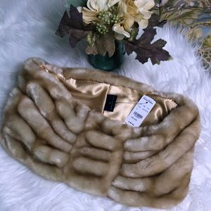 Brooks Brothers faux fur neck wrap/infinity scarf